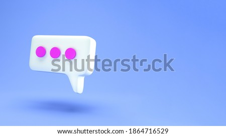 White Speech bubble chat icon isolated on blue background. Message creative concept with copy space for text. Communication or comment chat symbol. Minimalism concept. 3d illustration 3D render