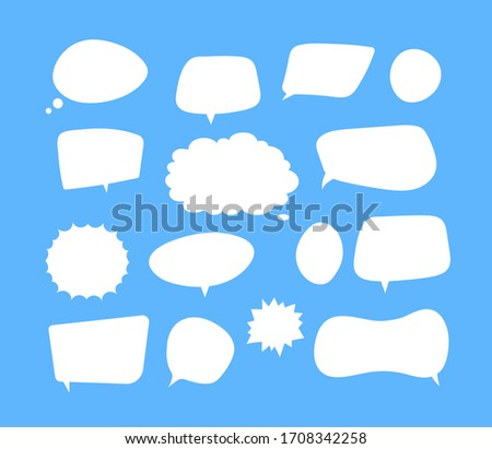 White speech bubbles. Thinking balloon talks bubbling chat comment cloud comic retro shouting voice shapes isolated set