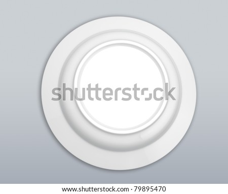 White Sphere Dish plate close on white background. Isolated 3d model