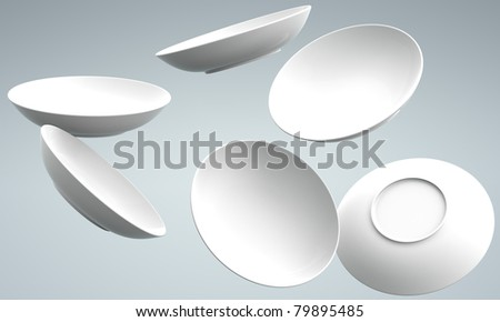 White Sphere Dish plate fall and  Spread on white background. Isolated 3d model