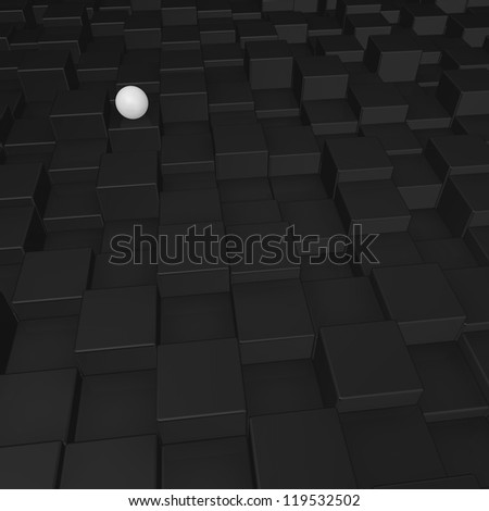 white sphere on black cubes surface - 3d illustration