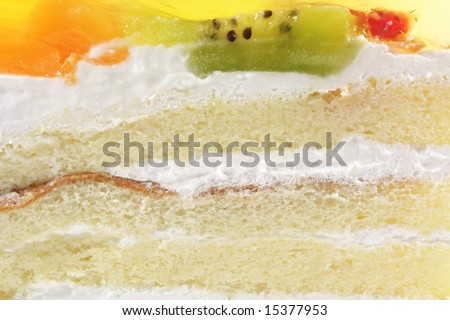 White Sponge Cream Cake With Gelatin Fruit Topping Dessert