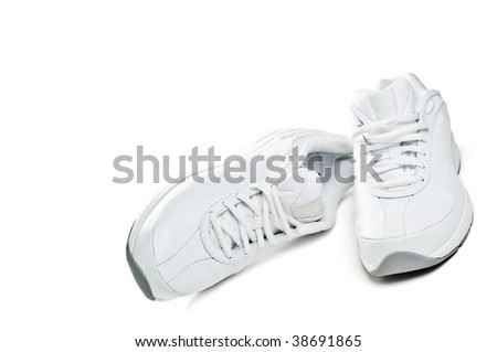 White sport shoes isolated on a white