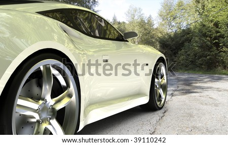 White sports car / sports car on country road