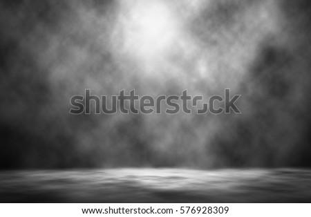 White spotlight smoke night studio background. #576928309
