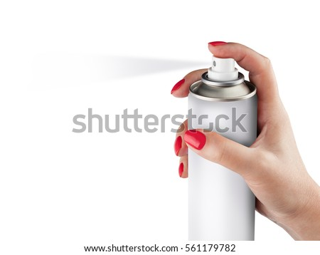 White spray can isolated on white background on woman hand, Aerosol Spray Can, Metal Bottle Paint Can Realistic photo image. With clipping path