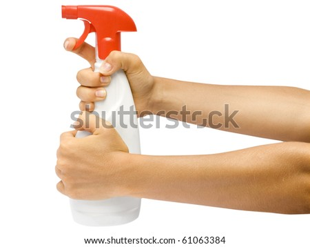 White spray in hand on white background