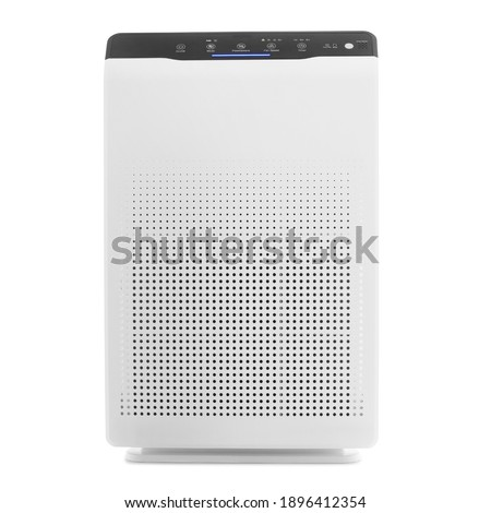 White Square Air Purifier Isolated on White. Front View White Modern Air Cleaner Humidifier. Electric Small Appliance. Household Appliances. Allergen and Odor Reducing Equipment. Modern Technology