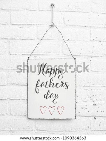 White square metal plate on white bricks background - mock up template - Happy fathers day for daddy with cute red hearts #1090364363