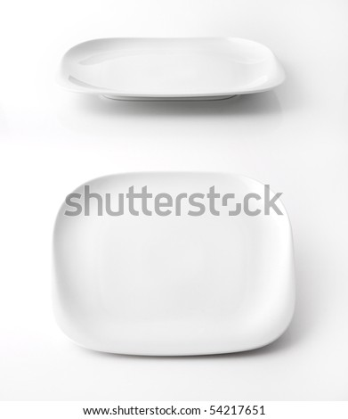 White square plate isolated on white