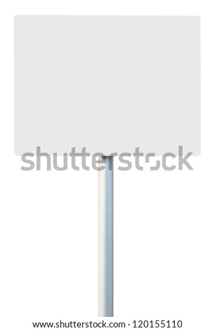 white square sign on post pole (isolated on white background, ready for your design)