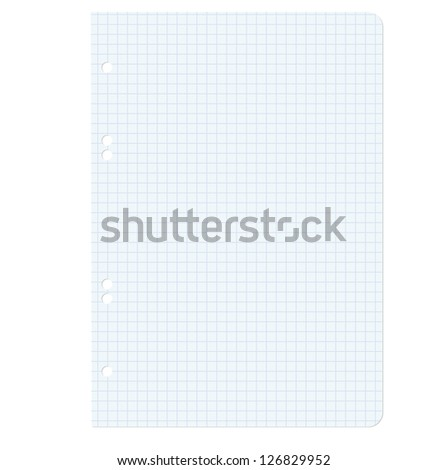 White squared blank white paper sheet.  illustration.