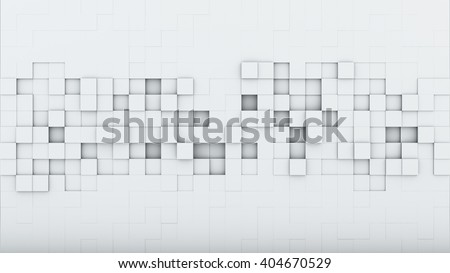 White squares. Abstract 3D rendering background