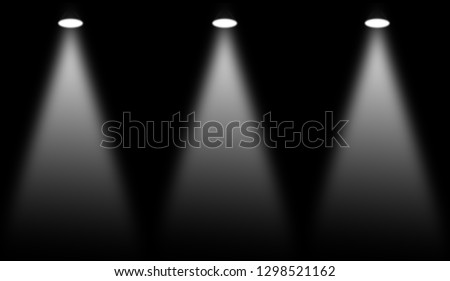 White stage . Spotlights on isolated black background. #1298521162