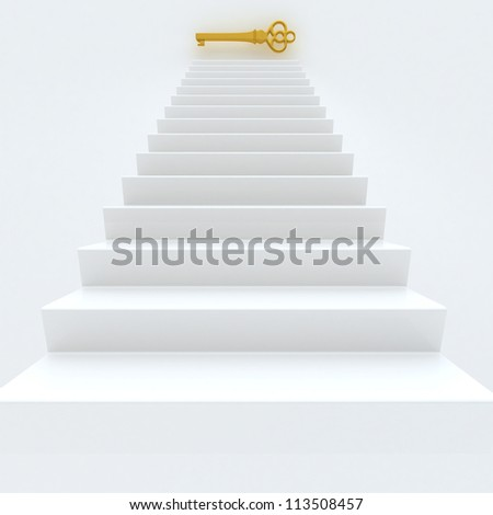 White Staircase With Golden Key