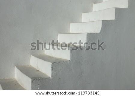 White stairs seen in Oia, Santorini island