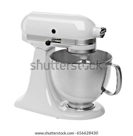 White stand / kitchen mixer isolated on white background including clipping path.