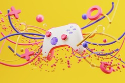 White standard game controller, joystick, gamepad on a yellow background with abstract geometric shapes. 3d rendering