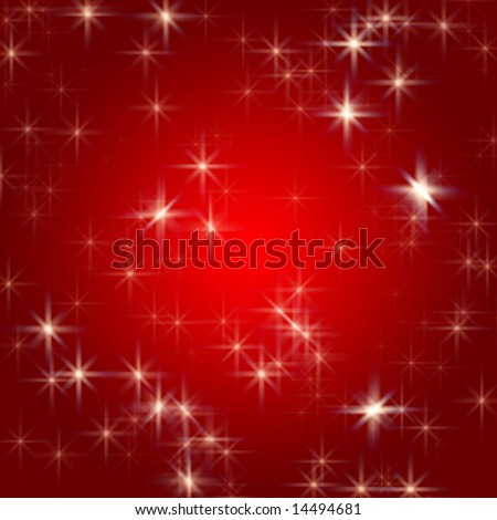 white stars over red background with feather center