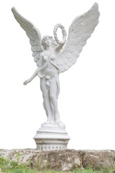 White statue of an angel with open wings flank isolated on a white background the front view. This has clipping path.