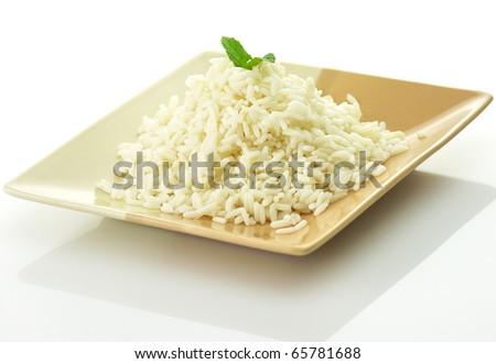 White steamed rice in a dish