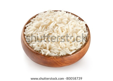 White steamed rice in wooden round bowl
