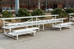 White Steel Bleachers in a New York City Park
