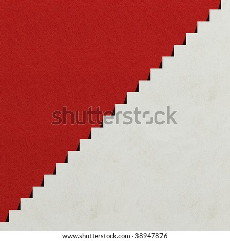 White steps and red wall