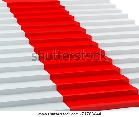 White steps with a red carpet