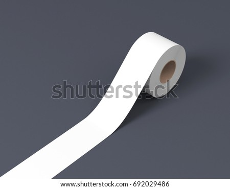White sticky tape, scotch tape, adhesive tape on gray backgroung 3d rendering