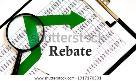 White sticskers with text REBATE on the chart Stock photo ©