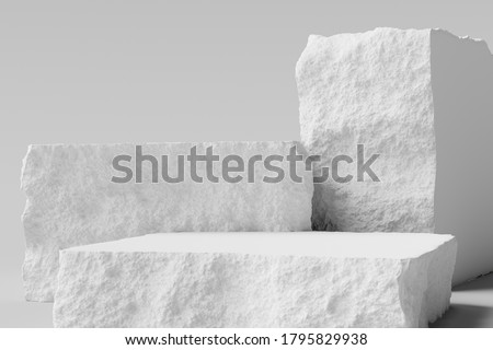 White Stone background, broken stone slabs product display, podium and platforms. 3d  rendering.
