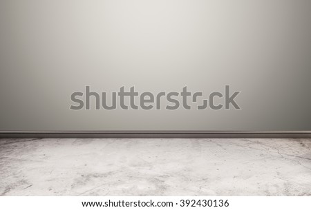 White stone floor with gray wall