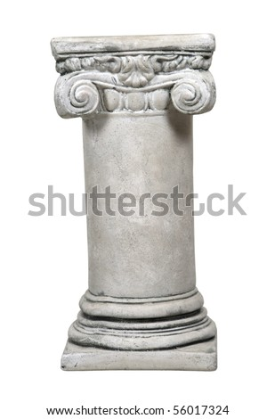 White stone formal column for architectural support of a building - path included
