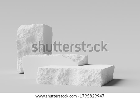 White Stone plates with rough textured edges, broken stone slabs podiums. 3d  rendering.