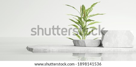 White stone podium, cosmetic display product stand with water reflection and nature leaves background. 3D rendering