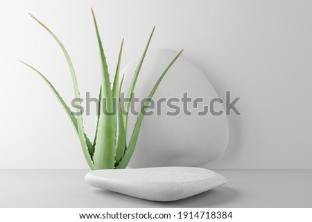 White stone podium, Cosmetic display stand with aloe vera on white background. 3D rendering Photo stock ©