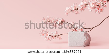 White stone podium, Cosmetic display stand with blossom flowers on pink background. 3D rendering