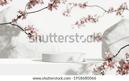 White stone podium, Cosmetic display stand with blossom flowers on white background. 3D rendering