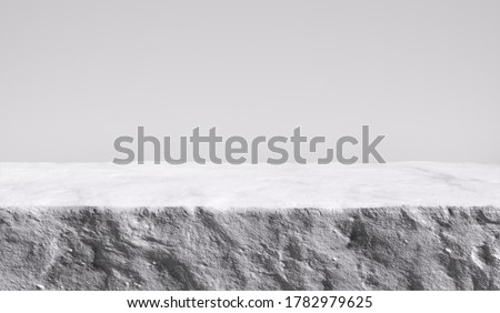 White stone rough plate object display podium, minimalistic object placement light backdrop, cosmetic product stone plate platform background, 3d rendering