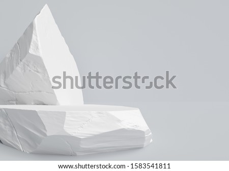 White stones object display podium, minimalistic object placement light backdrop, cosmetic product stone plate platform background, 3d rendering