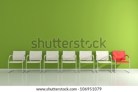 White stools in the waiting room