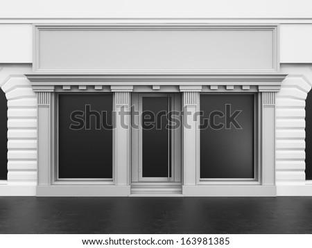 White store with empty showcase