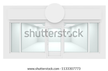 White Storefront blank showcases. Empty new shop interior, clean signboard copy space, mock up design store interior, 3d render.