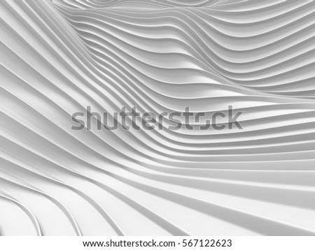 Stock Photo White stripe waves pattern futuristic background. 3d render illustration