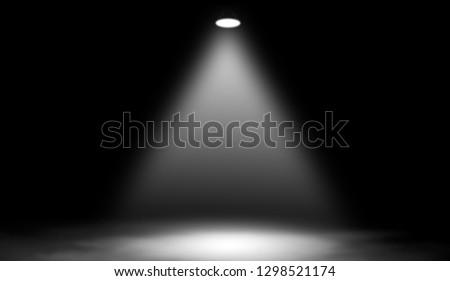 White studio spotlight . Stage with smoke on the floor.