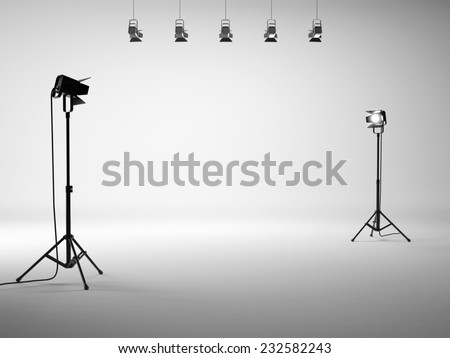 White studio with equipment