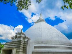 White Stupa in Kelaniya Temple. In Colombo, Sri Lanka