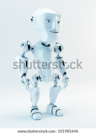 White stylish little cyber toy / Cute white robot