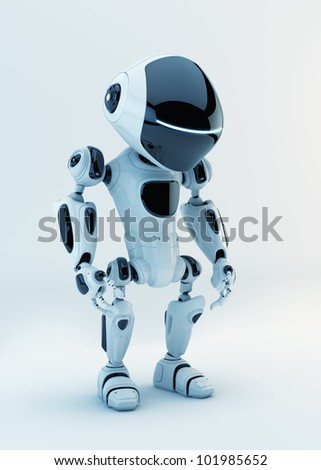 White stylish little cyber toy / White stylish little robotic warrior